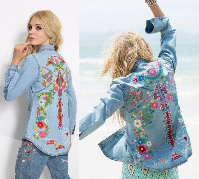 Женщины вышивка цветочные boho хиппи стиль джинсовые рубашки куртки моде джинсовые куртки vintage bohe хиппи шик длинный рукав куртки