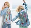 Mulheres bordados camisas de denim floral boho hippie estilo jaquetas jaqueta moda denim vintage bohe hippie chic luva longa jaqueta