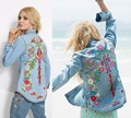 Women embroidery hippie style denim shirts floral boho jackets fashion denim jacket vintage bohe hippie chic long sleeve jacket