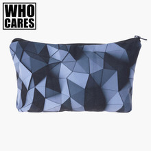 Black 3d triangles Printing 2017 women cosmetic bag neceser makeup pouch travel bolsos mujer de marca famosa toiletry organizer
