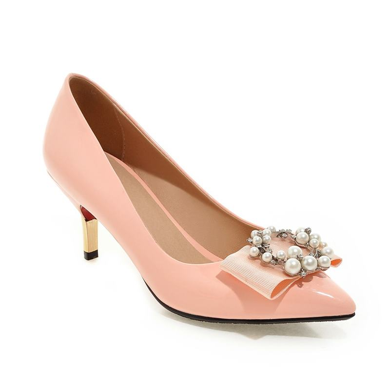 Plus size 32-43 new fashion pointed toe women pumps stiletto high heels party wedding shoes woman sweet solid color summer shoe meotina high heels shoes women pumps party shoes fashion thick high heels pointed toe flock ladies shoes gray plus size 10 40 43