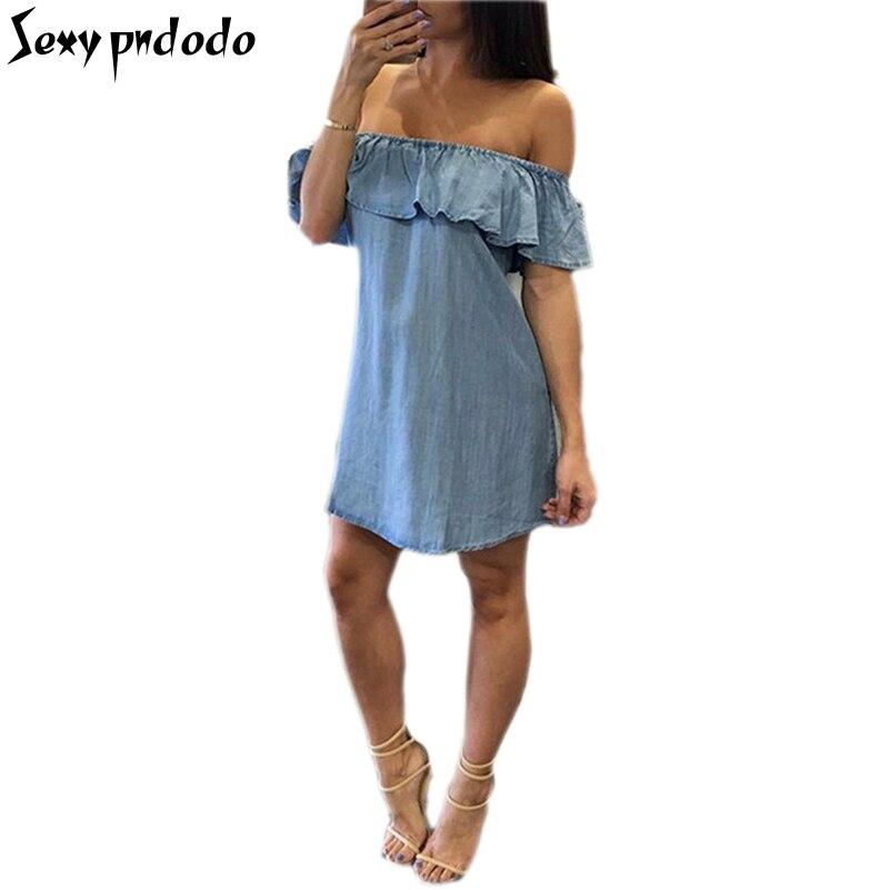 Blue Imitation Denim Slash Neck Sexy Off The Shoulder Ruffles Wrap Dress Club Mini Dresses Plus Size Women Clothing Beach Dress