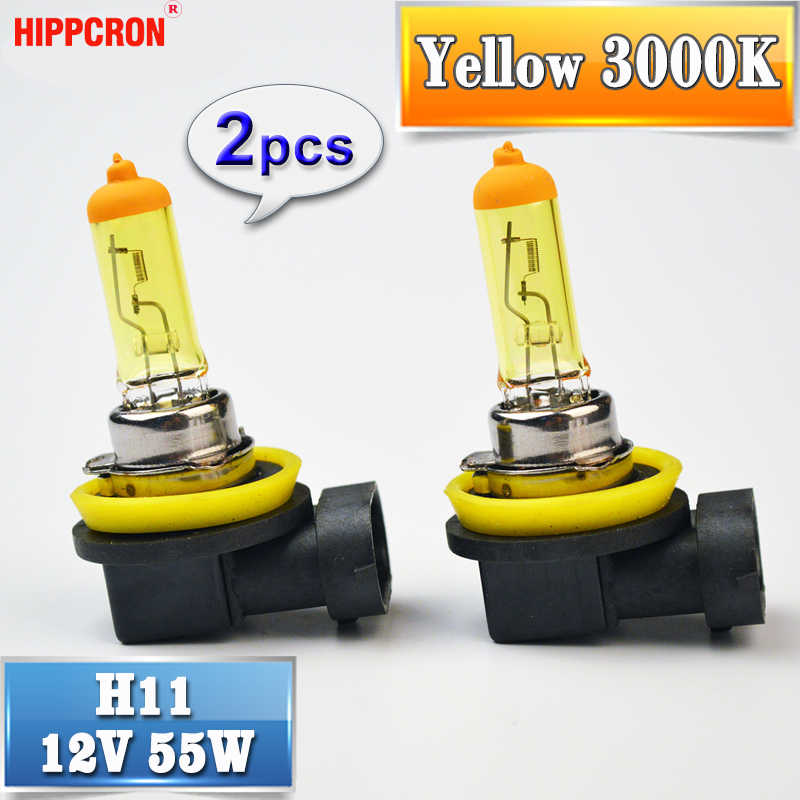 hippcron H11 Yellow Halogen Bulb 12V 55W 2 Pieces PGJ19-2 3000K Auto Lamp Quartz Glass Car Fog Light