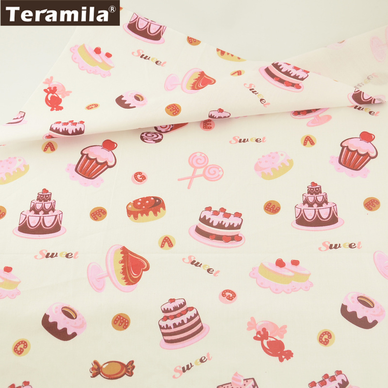 Teramila Fabric 100% Cotton Printed Cake Sweet Style Twill Material Clothing Bed Sheet Handwork Dress Scrapbooking Patchwork craft