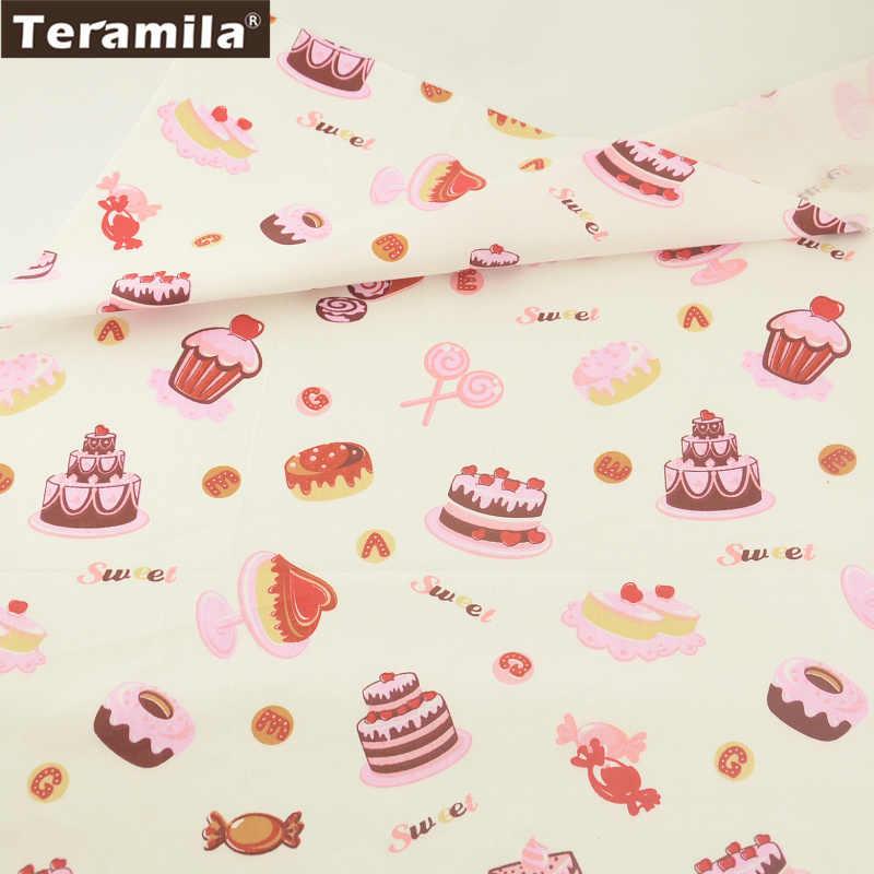 Teramila Ткань из 100% хлопка с принтом торт сладкий Стиль твил Материал  Костюмы кровать Лист f0420543e28fd