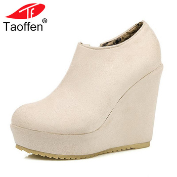 TAOFFEN Size 32-43 Lady High Wedges Shoes Women Platform Zipper Round Toe Solid Color Wedges Pumps Sexy Party Club Lady Footwear