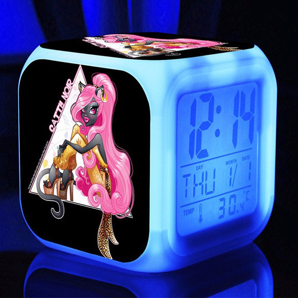 3d cartoon Monster High Alarm Clocks, Monster High Digital Wekkers voor kinderkamer Multifunctionele kleur veranderende wekkers