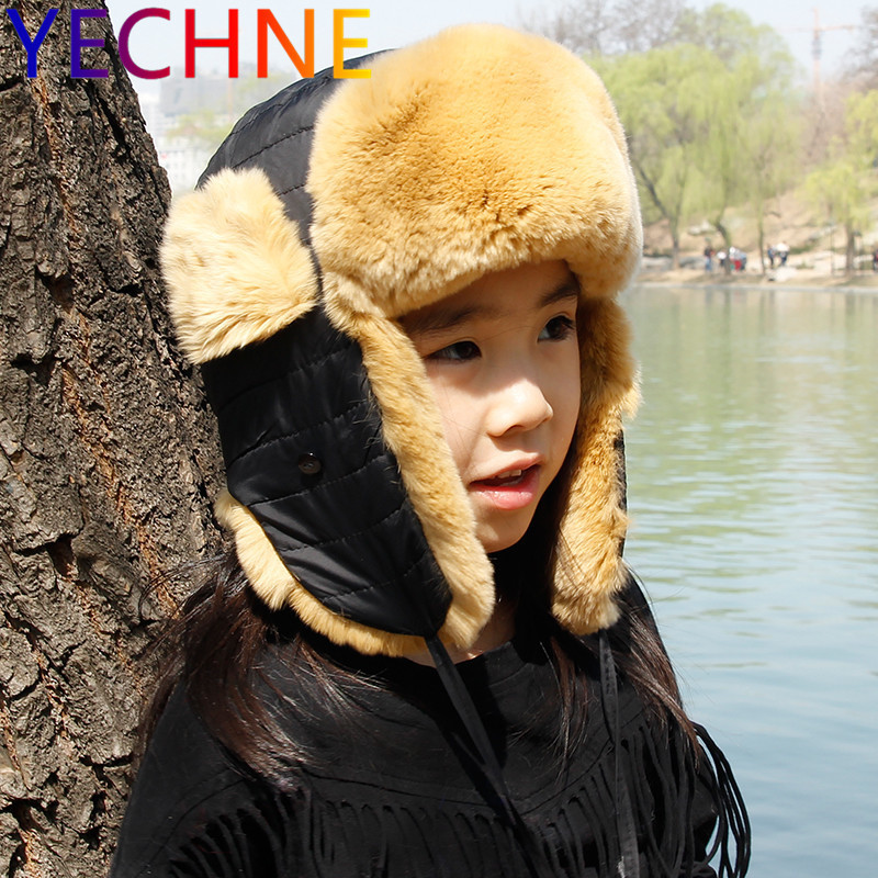 YECHNE Winter Russia Fur Hat Children Hat Warm Soft Real Rex Rabbit Fur Boy Girl Earmuffs Lei Feng Cute Baby Fur Bomber Hat Cap
