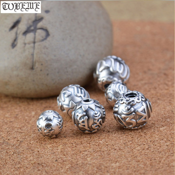 NEW! 999 Silver Tibetan OM Mani Padme Hum Beads Real Silver Buddhist Words Beads Pure Silver Tibetan Six Proverb Jewelry Beads цена 2017