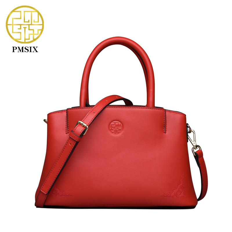 Pmsix luxury handbags women bags designer red soft shoulder bag popular High quality clutch bag Long shoulder strap bag P120038 adiors long middle parting shaggy wavy color mix synthetic party wig