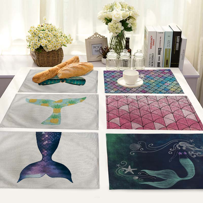 mermaid printed Table Dinner cotton and linen Napkin Placemats For Wedding Party Home Decor Table cloth Napkins 42*32cm MS0017