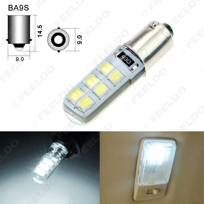 FEELDO 1Pc White Car T4W BA9S <font><b>12</b></font> <font><b>SMD</b></font> 2835 Chip Silicone Case <font><b>12</b></font> LED License Plate Bulbs Lamp Door Light #FD-4645 image