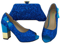 New Royal Blue Color African Shoe and Bag Sets Italian Shoe and Matching Bag for Nigeria Party Nigerian Shoes and Matching Bags
