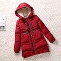2016 mulheres de inverno revestimento vermelho Amassado fêmea de médio-longo plus size espessamento senhora ocasional ferramental amassado para baixo casaco preto parkas