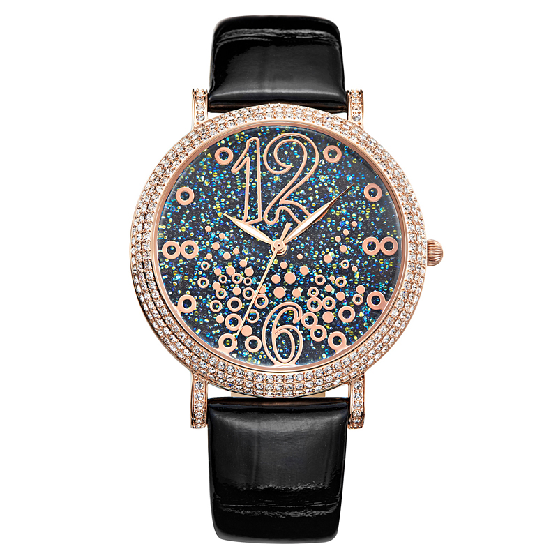 MATISSE Fashion Lady Full Crystal Dial Leather Strap Buiness Quartz Watch Wristwatch - Gold matisse fashion austria crystal rotatable dial lady women buiness quartz watch wristwatch