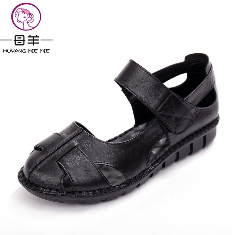 MUYANG MIE MIE Summer Women Shoes Woman Genuine Leather Flat Sandals Female Casual Open Toe Sandals Soft Outsole Women Sandals mmnun 2017 boys sandals genuine leather children sandals closed toe sandals for little and big sport kids summer shoes size26 31