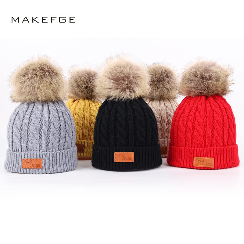Children's Knitted Cotton Hats FAS Leather Standard Boy Girl Universal Fur Kids Winter Caps Warm Pompoms Ski Hat Solid Beanie