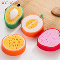 4pcs/set Cute Fruit Shape Microfiber Sponge Scouring Pad Cleaning Cloth Strong Remove Stains Thickened Sponge Kitchen Tools