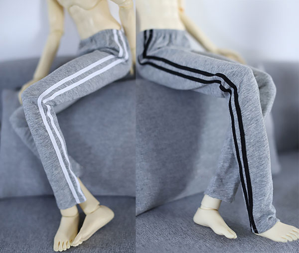 BJD doll clothes gray pants white black 2 stripes casual sport pants for 1/3 1/4 BJD SD DD MSD SD17 Uncle SSDF doll size doll fashion red white turtleneck sweater for bjd 1 3 sd17 uncle doll clothes accessories