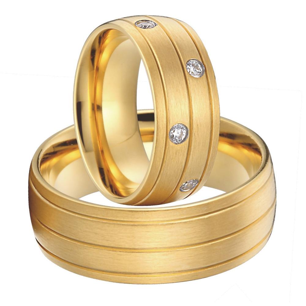 Luxe Personnalisé De Mariée Paire titanium acier bijoux big anneaux de mariage ensemble pour hommes et femmes 2015 new gold couleur alliances anel