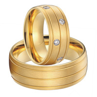 Luxury Custom Bridal Pair titanium steel jewelry big wedding rings set for men and women 2015 new gold color alliances anel