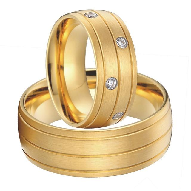 Luxury Custom Bridal Pair Titanium Steel Jewelry Big Wedding Rings