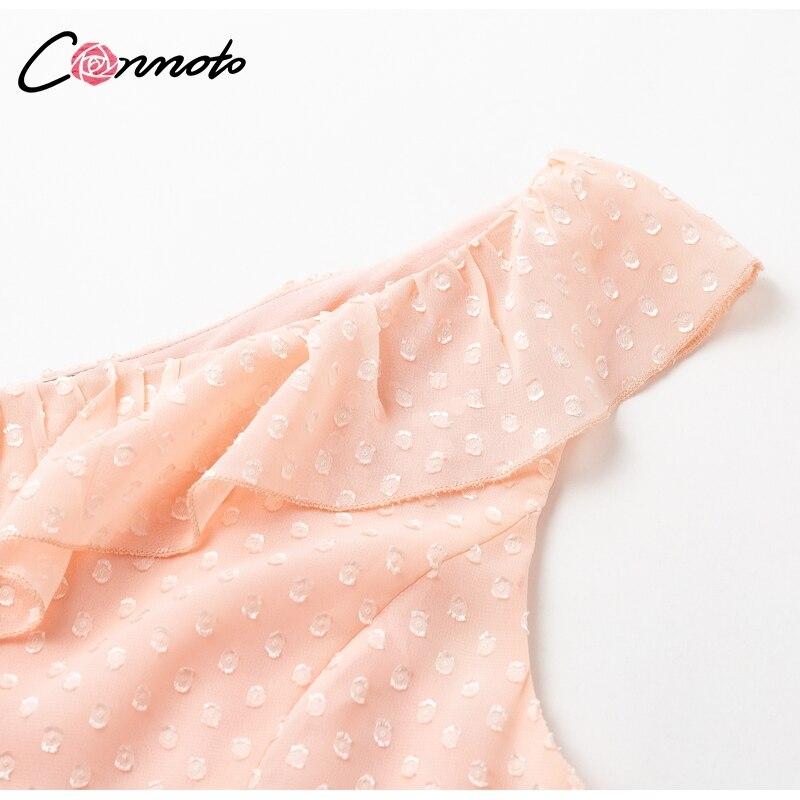 Conmoto Casual Polka Dot Short Party Dress Girls 19 Summer NEW One-Shoulder Sleeveless Ruffle Chiffon Dress Women Vestidos 11