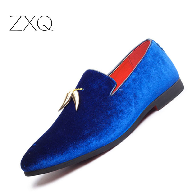 New Spring Autumn Men Party Shoes Personal Metal Pendant Decorated Slip On Blue Red Black Color Fashion Men Driving Shoes