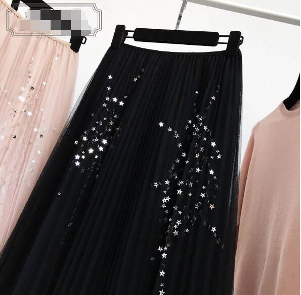 Fall New Style Stars Sequin Decorated Multilayer Gauze Pleated Skirt Elegant Tulle Skirt Saias Longas Casuais in Skirts from Women 39 s Clothing
