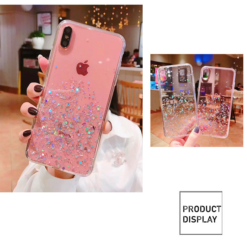 HTB1kXXHbgaH3KVjSZFpq6zhKpXaG - Luxury Bling Glitter Stars Sequins Case For iPhone 11 Pro XS MAX XR X Transparent Silicone Case For iphone 8 7 6 6S Plus Cover