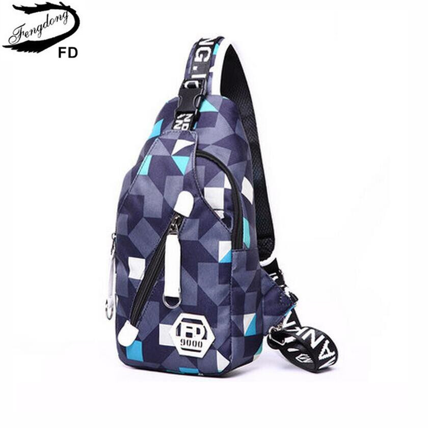 FengDong női egy vállpántos mellkas táska kék oxford szövet utazótáskák női táska kis crossbody táska lány hátizsák