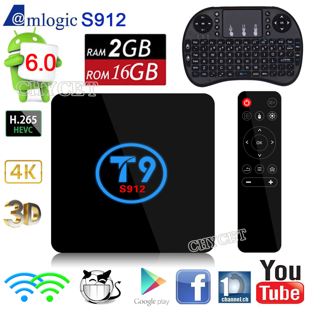 T9 Android 6.0 TV Box Amlogic S912 2GB RAM 16GB ROM 2.4GHz / 5.0GHz WiFi Smart Set-top 3D 4K Ethernet 1000M TV Box zidoo h6 pro tv box 2gb ram 16gb rom android 7 1 2 4g 5 0g wifi gigabit lan bluetooth 4 1 smart set top box