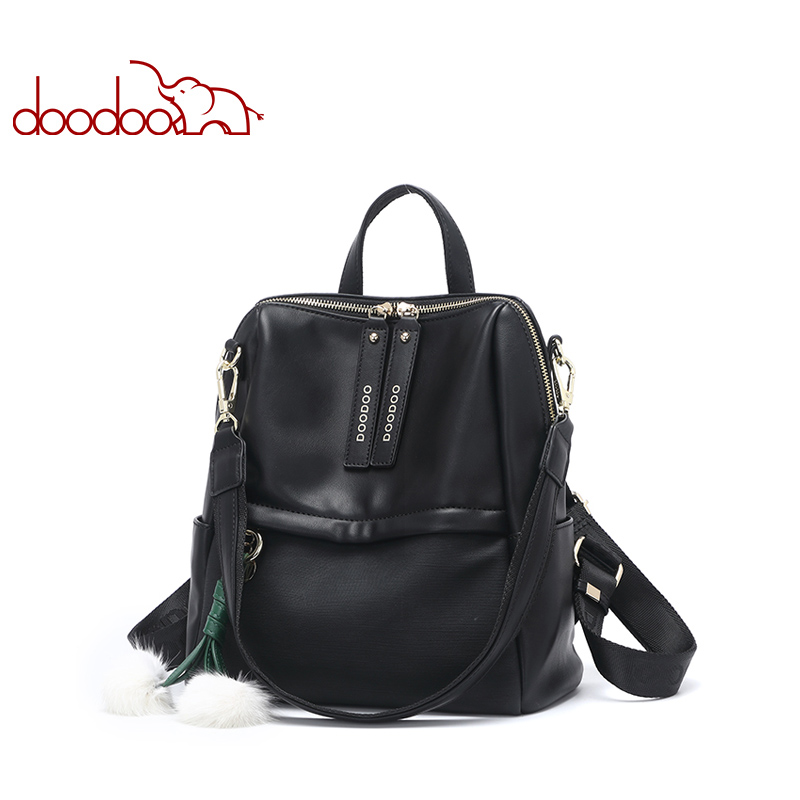 DOODOO Teen Backpack Women Bag Pu Leather Backpacks Travel Multifunctional School Bags 2018 Large Back Pack Shoulder Bag 2 Color 2017 new fashion women backpack female pu leather women s backpacks bagpack bags travel bag back pack multi purpose shoulder bag