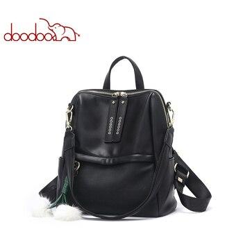 DOODOO Teen Backpack Women Bag Pu Leather Backpacks Travel Multifunctional School Bags 2018 Large Back Pack Shoulder Bag 2 Color