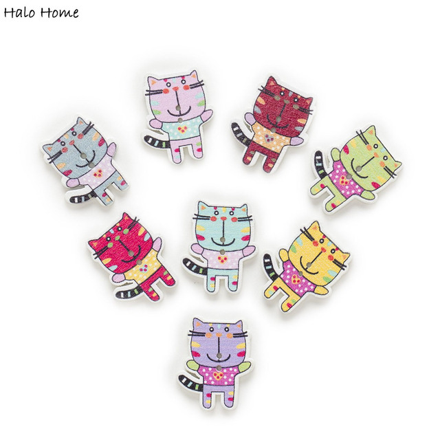50pcs Tiger Cartoon Wood Buttons Sewing Scrapbooking Gift Clothing ...
