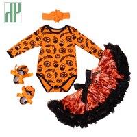 Baby Girl Pajacyki 4 sztuk Zestawy Z Długim Rękawem Drukowane Tutu Sukienka pałąk dziecko kombinezon Romper Party halloween kostium dla dziecka 0-2Y