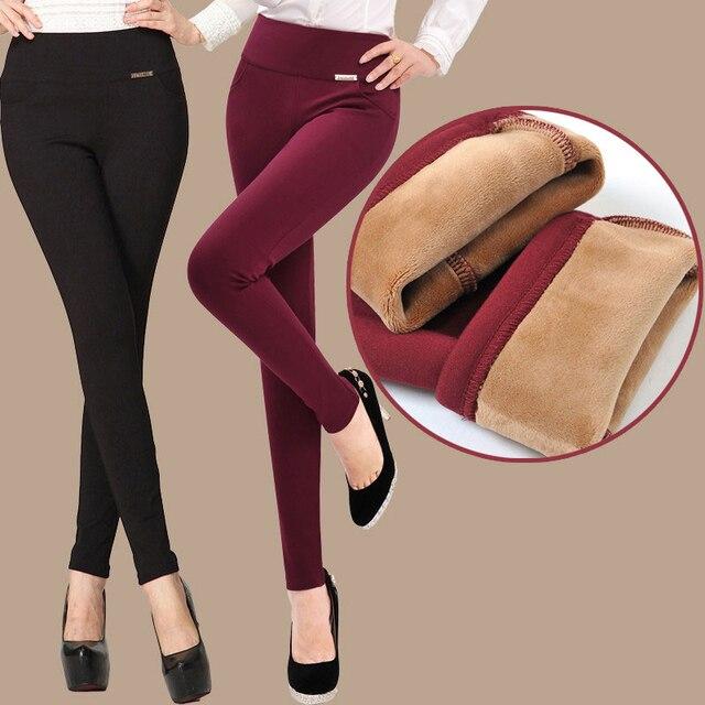 Hiver Polaire Chaud Femmes Occasionnels Crayon Pantalon Noir Rouge Bleu  Pantalons Longs Femme Taille Plus Femme 04d9a6128f0d