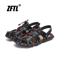 ZFTL Mens sandals new genuine leather outdoor beach shoes large size man casual summer handmade mens leisure 061