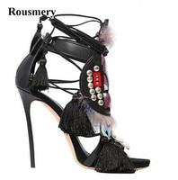 Summer New Design Women Open Toe Ankle Strap Spike High Heel Tassels Sandals Spike Totem Gladiator