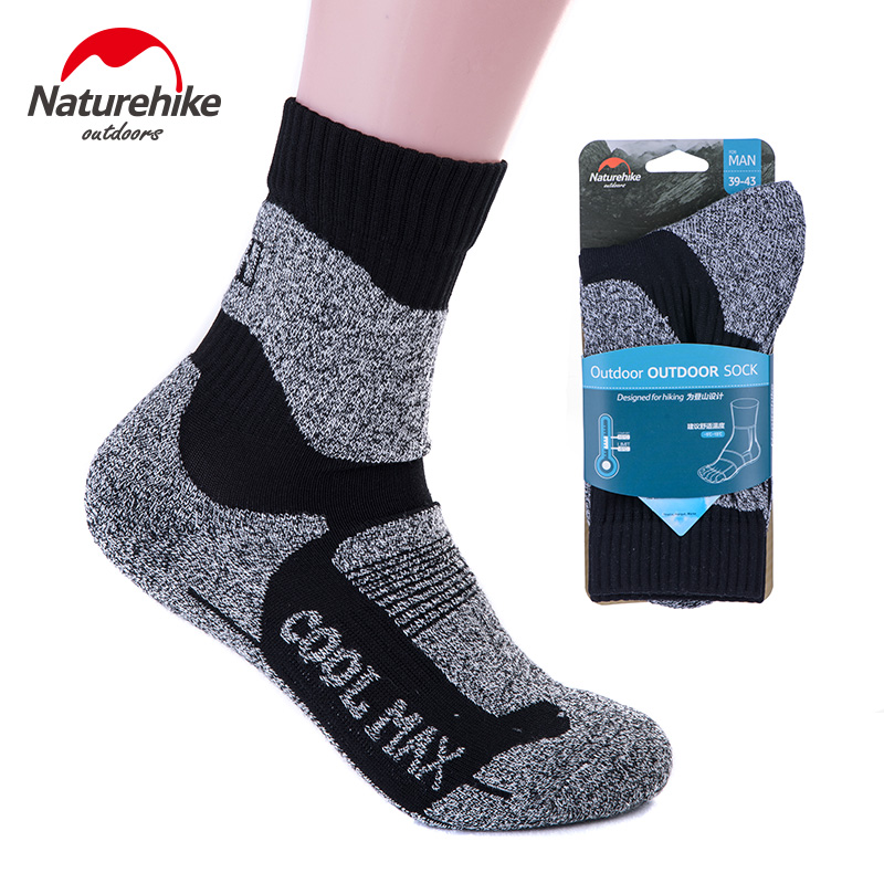 2pair New Naturehike Professional Outdoor Snow Sports Socks Peak Hiking Quick-Drying Coolmax Sock Man Women Winter Thermal Socks