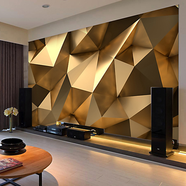 Custom Foto Behang 3D Stereo Abstracte Ruimte Golden Geometry ...