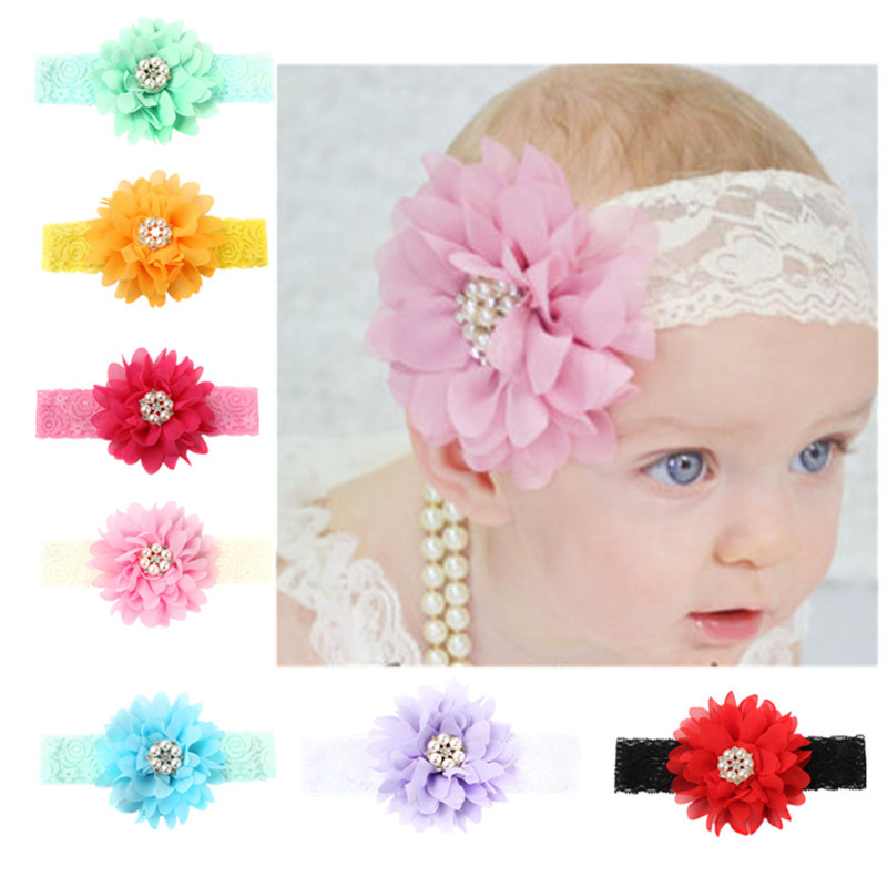 2017 nice girl flower red black headbands contrast color floral lace hair bands imitation pear decoration hair accessories YT-11
