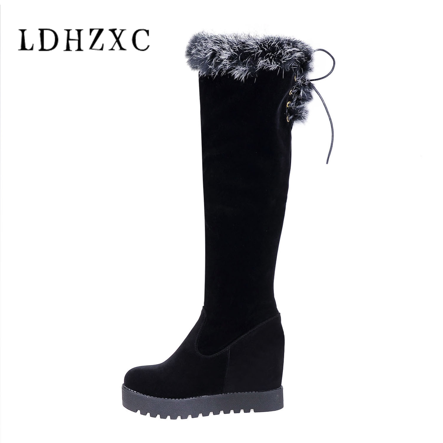LDHZXC 2018 Hot Sale Add Plush Women snow Shoes Woman knee high Boots Woman Warm Winter Boots Large Sizes 35-43 waterproof все цены