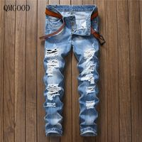 QMGOOD Hot summer fashion men's slim Ripped jeans 2017 new Blue Torn ripped jeans Casual Slim Straight Denim With Holes pants