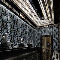 10m Length European Luxury Black Damascus Flash wallpaper 3d Living room Ktv Mural Fashion Flame Retardant Wall Paper