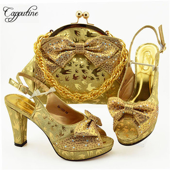 Capputine New Arrival African Rhinestones Gold Shoes And Bag Set African Summer High Heels Shoes And Bag To Match Set For Party