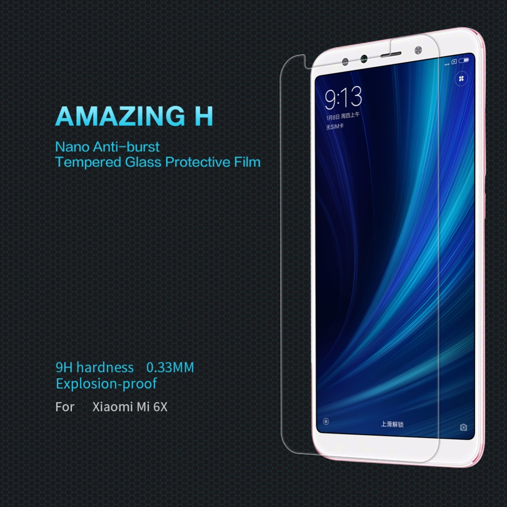 Tempered Glass For xiaomi mi6x Screen Protector For xiaomi mi 6x NILLKIN Amazing H Nanometer Clear Anti-burst Protective Film