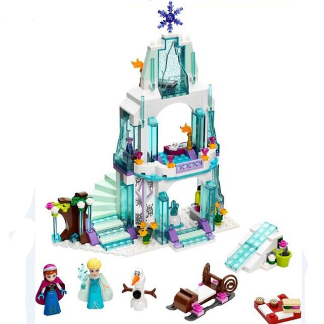 Nueva llegada de la princesa anna elsa hielo de ladrillos educativos bloques de construcción del castillo castillo play set de regalo para la muchacha 316 unids/lote
