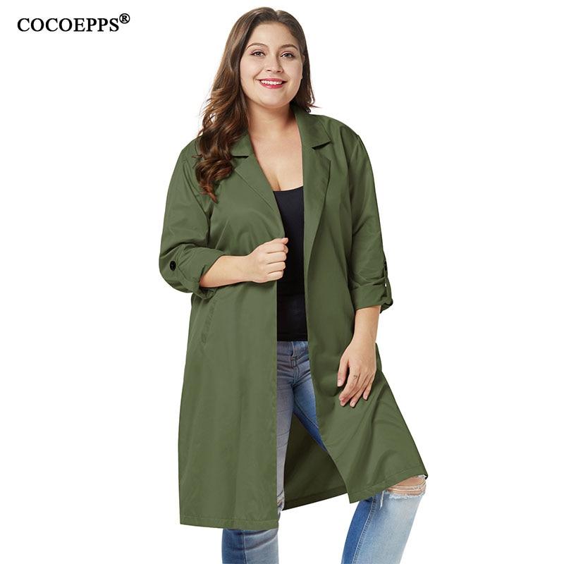 4XL 2018 Autumn Plus Size Women   Trench   Coats Long Windbreaker Winter New Brand Fashion Coats Female Big Size Slim Long   Trench