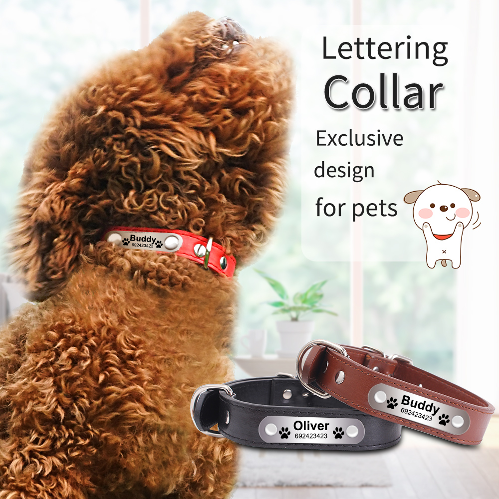 Personalized Dog Collars Engraved Anti-Lose PU Leather Pet Products Customized Durable and Padded Dog Supplies with ID tag